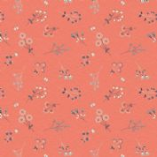 Lewis & Irene The Hedgerow - 5556  - Hedgerow Floral  on Coral - A252.1 - Cotton Fabric